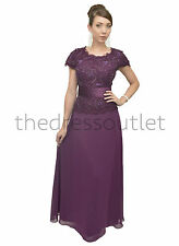 Mother of the Bride Short Sleeve Chiffon Plus Size Evening Long Dress