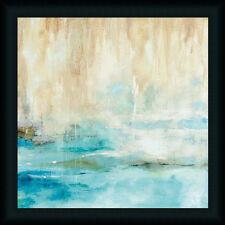 Through the Mist II 20x20 Turquoise Blue Tan Art Print Framed Picture