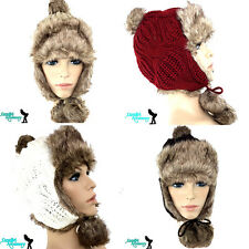 WOMEN WINTER KNITTED FUR AVIATOR EAR FLAP TRAPPER BOMBER SKI SPORTS HAT