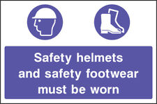 Mand0021 Saftey Helmets And  Footwear Sign Sticker Health Safety Ppe Warning