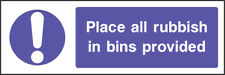 Mand0003 Place All Rubbish In Bins Provided Sign Sticker Health Safety Warning
