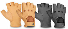 LEATHER FINGERLESS DRIVING GLOVES POLICE WEIGHT WHEELCHAIR & BIKER VELCRO BUTTON