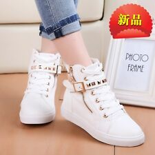 Casual Womens Zipper Ankle Boots Sport High Top Sneakers Hip Hop Flat Heel Shoes