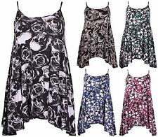 Womens Plus Size Flower Skull Printed Ladies Strappy Swing Flare Vest Top Dress