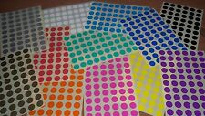 15mm Round Blank Price Stickers - Coloured Labelling Code Dots - Sticky Labels