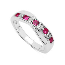 STERLING SILVER PINK TOPAZ & DIAMOND CHANNEL SET ETERNITY RING SIZE VALENTINES