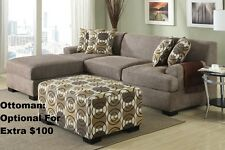 2 Pcs Sectional Linen Loveseat & Chaise In Slate Color For Living Room Set