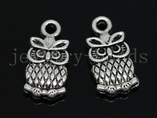 New 10/50/240pcs Antique Silver Beautiful Owl Jewelry Charms Pendant DIY 15x8mm