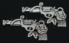 New 5/20/100pcs Antique Silver Beautiful Roses Pistol Charms Pendant DIY 31x19mm