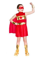 Red Superhero Girls Fancy Dress Comic Book Childrens Kids Child Costume Outfit