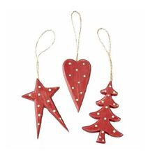HEAVEN SENDS RED RUSTIC POLKA DOT WOODEN CHRISTMAS TREE DECORATION ORNAMENT GIFT