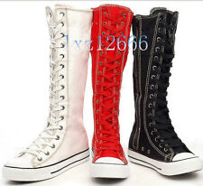 Hot PUNK Women Canvas Boots Sneaker Girl's Shoes Knee High Lace UP Boots