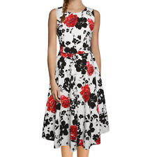 Women Round Neck Sleeveless Floral Prints Belted Mid-Calf Length Swing Dress