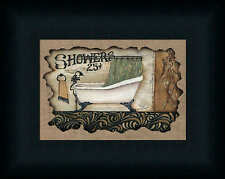 Showers Michele Musser 5x7 Country Primitive Sign Framed Art Print Picture