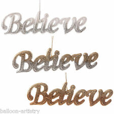 19cm Christmas Party BELIEVE Magic Hanging Glitter Wall Door Sign Decoration