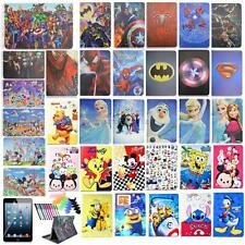 "New For iPad 234 9.7"" PU leather case smart cartoon stand covers+film+pen fr kid"