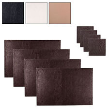 Set Of 4 Christmas Faux Leather Snakeskin Place Mats Coasters Protective Table