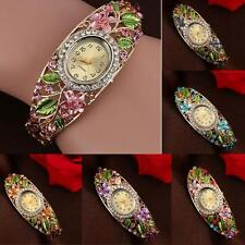 New Fashion Women Bangle Crystal Color Flower Bracelet Quartz Watch Wristwatch
