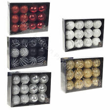 12 Deluxe Christmas Tree Baubles Festive Decorations Gold Red Silver White Black