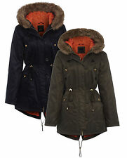 Ladies Parka Jacket New Womens Outerwear With Faux Fur Trim Hood Sizes UK 10-18