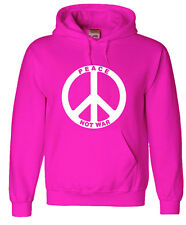 Pink hoodie sweatshirt peace not war sign men's size sweat-shirt peace hoodie