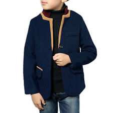 Boys Stand Collar Contrast Color Button Closed Worsted Jacket