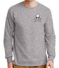 Distressed Skull Crossbones Men's Long Sleeve Shirts Cool Gothic Tee - 1271P