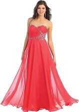 Long Strapless Formal Prom Dress Sweetheart Chiffon Evening Gown