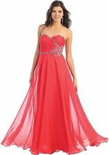 TheDressOutlet Long Strapless Formal Prom Dress Sweetheart Chiffon Evening Gown