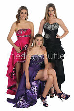 TheDressOutlet High Low Formal Prom Dress Beaded Print Evening Party Gown