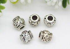 New 30/100/500pcs Antique Silver Barrel Beads Jewelry Charms Spacer Beads 6x5mm