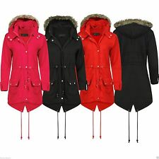 LADIES WOMENS KIDS GIRLS TRENCH FUX FUR HOODED FISHTAIL PARKA JACKET PLUS SIZE