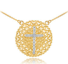 Two-Tone Gold Filigree Heart Cross Diamond Necklace