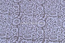 White Floral leaf print cotton fabric hand block print indian pure cotton fabric