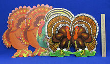 Thanksgiving Die Cut Paper Window Decorations 3 Turkey Designs Holiday Lot Of 5