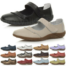 WOMENS LADIES LOW FLAT COMFORT LEATHER HOOK&LOOP STRAP WORK MARY JANE SHOES SIZE
