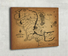 Middle Earth LORD OF THE RINGS MAP Premium Giclee Canvas Art or poster print