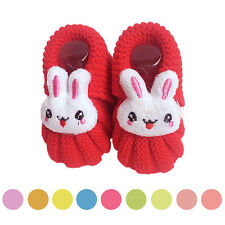 Baby Girls Boys Cute Shoes Rabbit Crochet Warm Handmade Knit High-top Shoes Gift