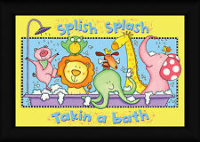 Splish Splash Bath 12x18 Taking A Bath Kids Illustration Framed Art Print