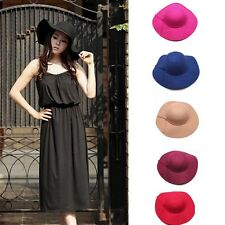 Women Girls Wool Hat Wide Brim Felt Bowler Fedora Hat Lady Newest Floppy Cloche