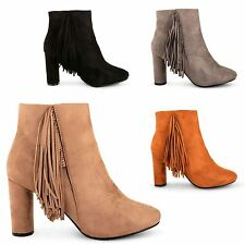LADIES WOMENS BLOCK HEEL CHELSEA BOOTS TASSEL FRINGE ANKLE PARTY WINTER SHOES