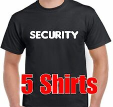 Bulk Pack of 5 Budget Black Security T-shirts For Work Party bouncer Kids Party
