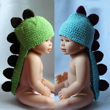 0-3 Month Baby Child Handmade Crochet Knit Hat Dinosaur Tail Photo Prop Cap US