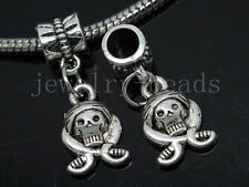 6/30/100pcs Tibetan Silver pirates head Bulk Lots Dangle Charms Bracelet Craft