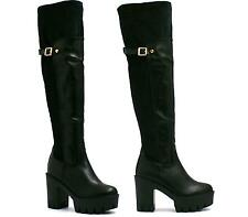 WOMENS LADIES CHUNKY BLOCK HEEL STRETCH OVER THE KNEE THIGH HIGH BOOTS SIZE