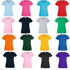 Fruit of the Loom T Shirt Ladies, Womens plain blank tee lady-fit top 16 Colours