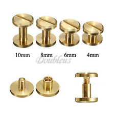 5 10pcs Stud Screw Round Head Solid Brass Nail Rivet Chicago Button DIY Leather
