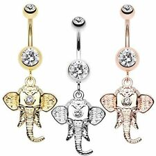 Shri Ganesha Dangle Elephant Belly Ring with Clear CZ {Golden,Silver,Rose Gold}