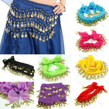 Belly Dance Skirt Scarf Hip Waistband Chain Belt 3 Rows Chiffon Coins New