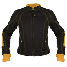 Xelement Womens 3583 Tri-Tex Black Yellow Armored Barbwire Heart Jacket